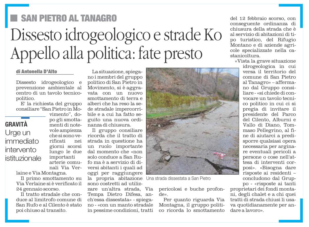 San Pietro al Tanagro. Dissesto strade. Appello alla politica.