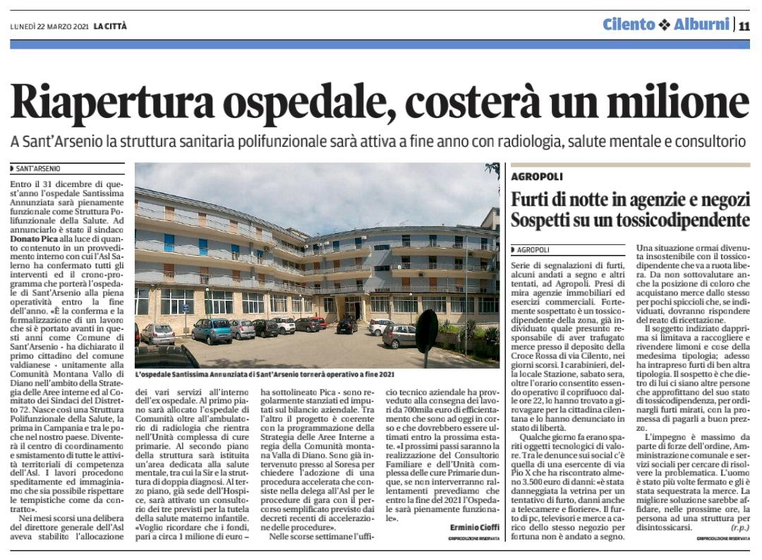 Ospedale Sant'Arsenio. Costerà un milione.