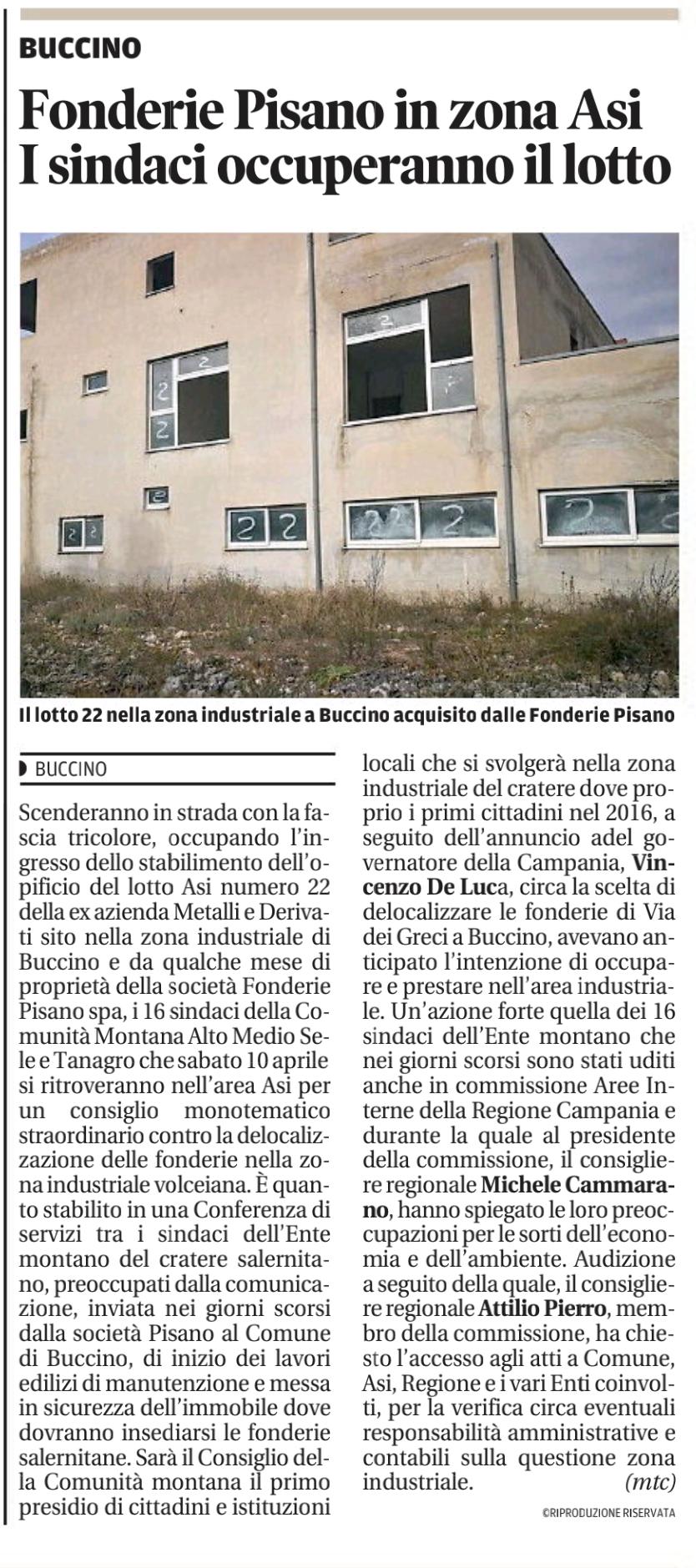 Fonderie Pisano a Buccino: Sindaci occupano lotto ASI