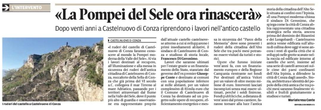 Castelnuovo di Conza, La Pompei del Sele rinascerà
