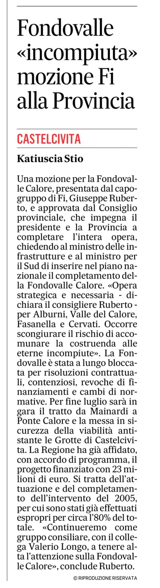 Fondovalle incompiuta, interrogazione in Provincia di Salerno