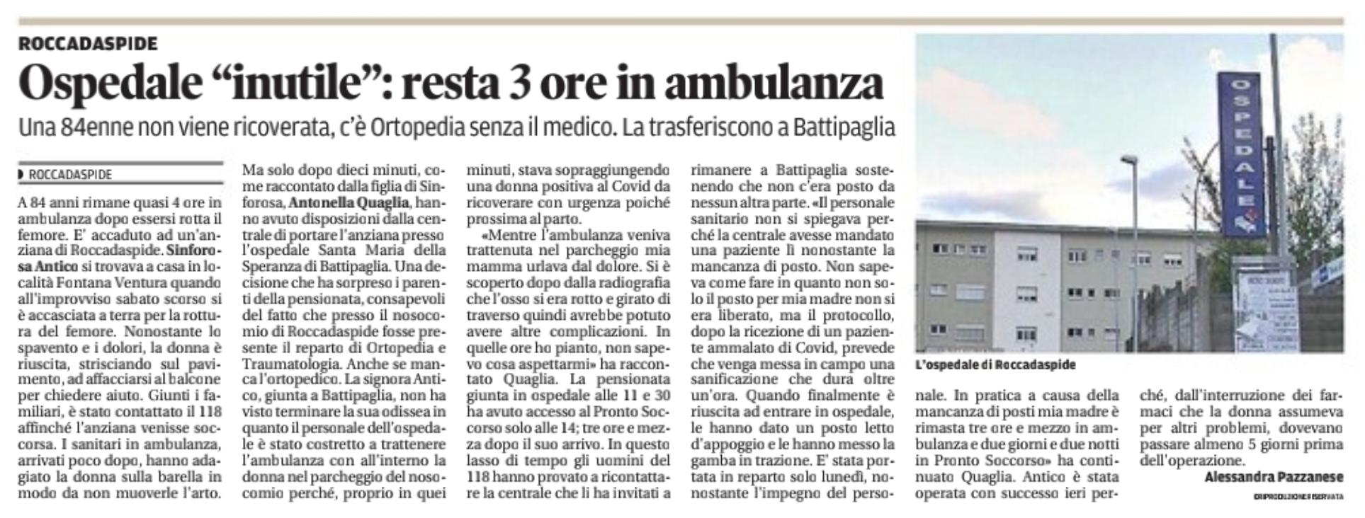 Roccadaspide, ospedale inutile. 3 ore in ambulanza